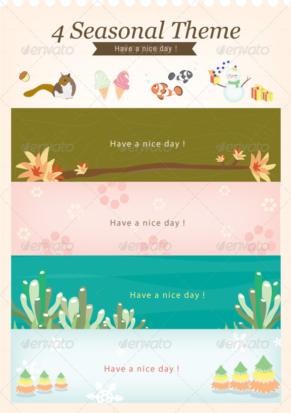 4 Seasonal Theme : Have a nice day - Conceptual Vectors