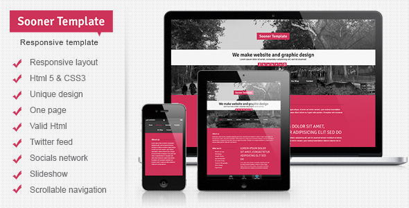Sooner Responsive One Page Creative Template - Creative Site Templates