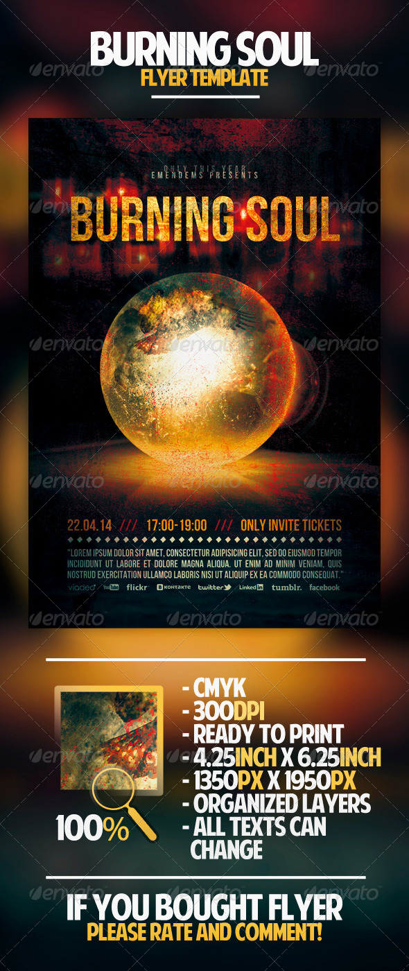 Burning Soul Flyer Template - Miscellaneous Events