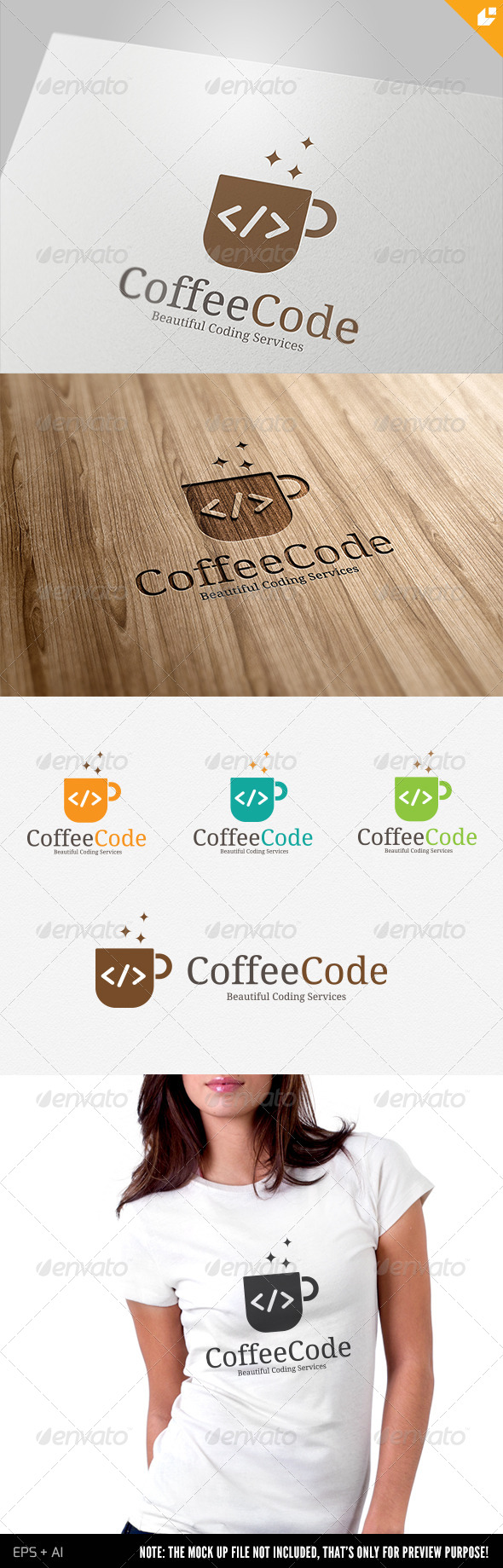 Coffee Code Logo - Food Logo Templates
