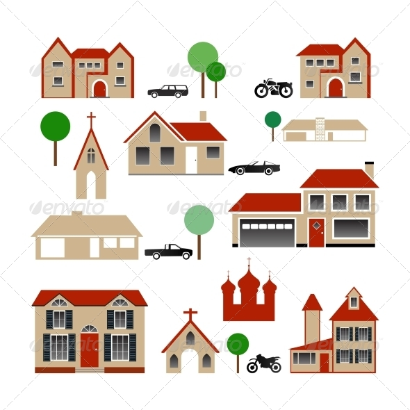 Vector Collection of Various Buildings - Buildings Objects