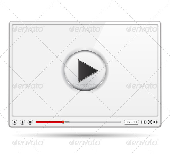 White Video Player - Web Elements Vectors