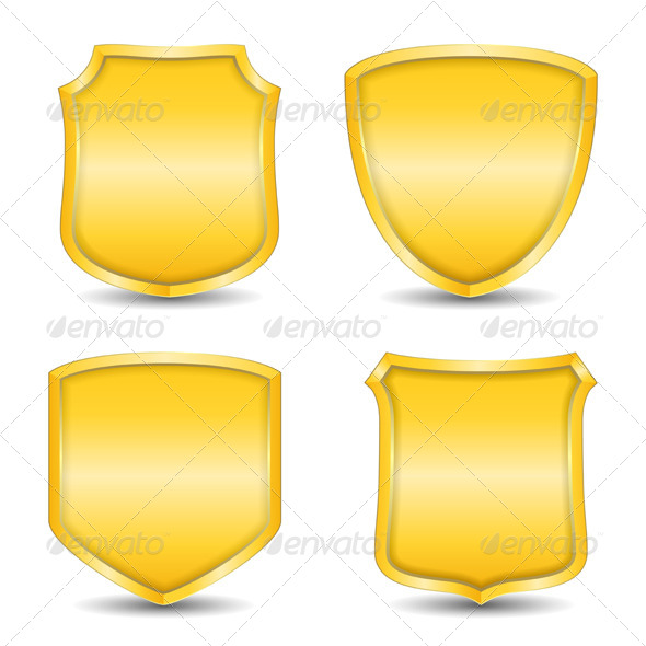 Golden Shields - Objects Vectors