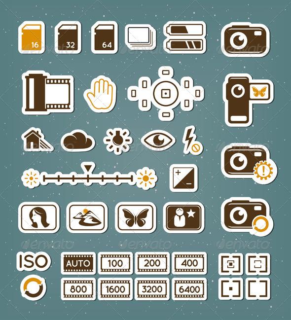 Camera Screen Icons Set - Technology Conceptual