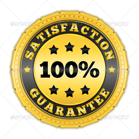 Satisfaction Guarantee Golden Badge - Services Commercial / Shopping