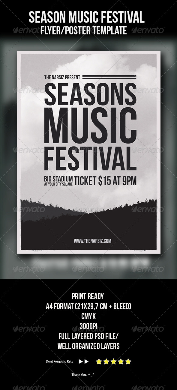 Season Music Festival Flyer Template by ikaznarsis | GraphicRiver