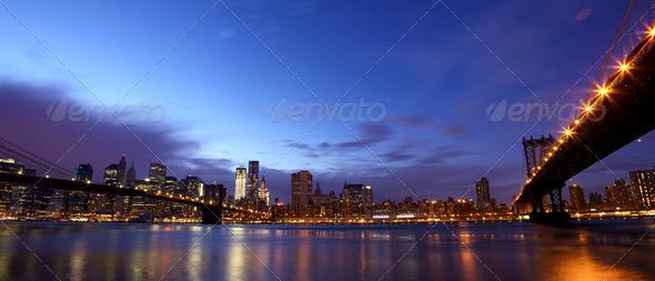 Manhattan panorama at dusk - Stock Photo - Images