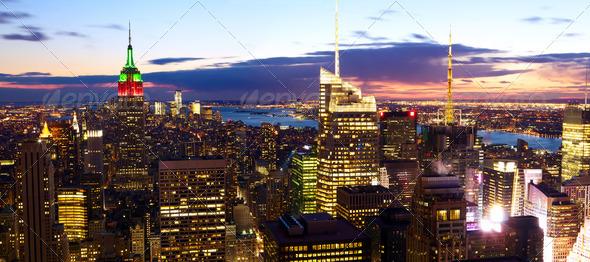 Manhattan skyline aerial panorama - Stock Photo - Images