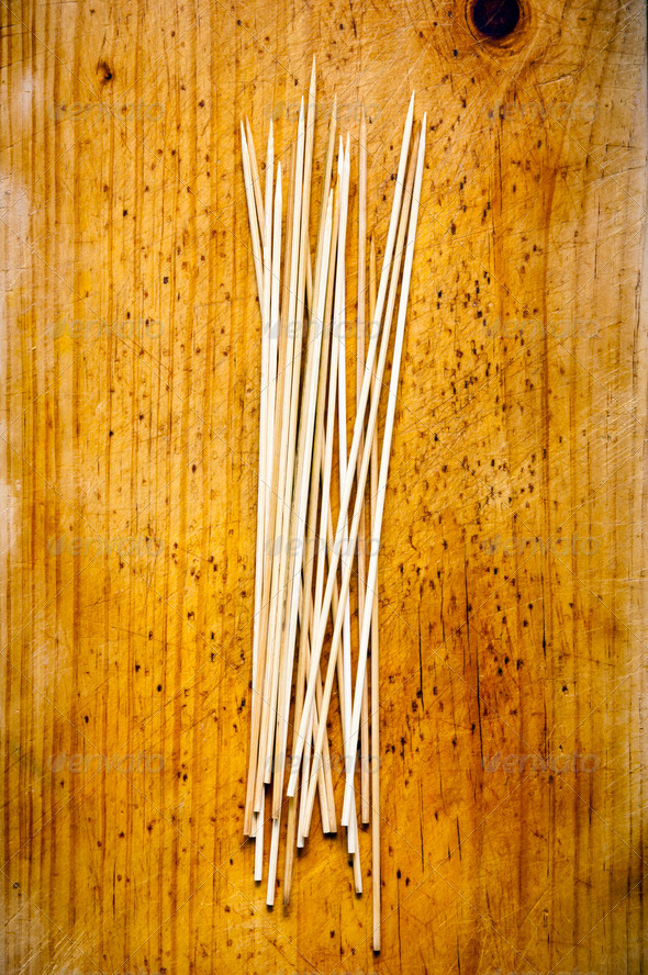 Skewers on Wood - Stock Photo - Images