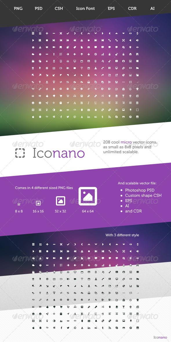 Iconano - 208 Micro Vector Icons - Icons
