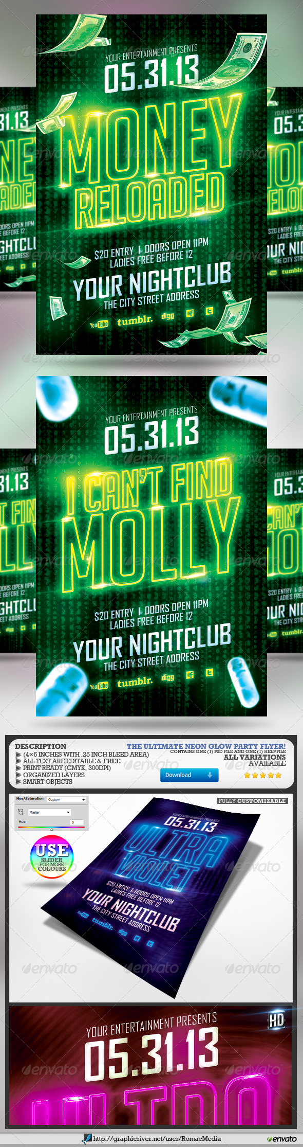 Club Sessions l Neon Party Flyers - Clubs & Parties Events