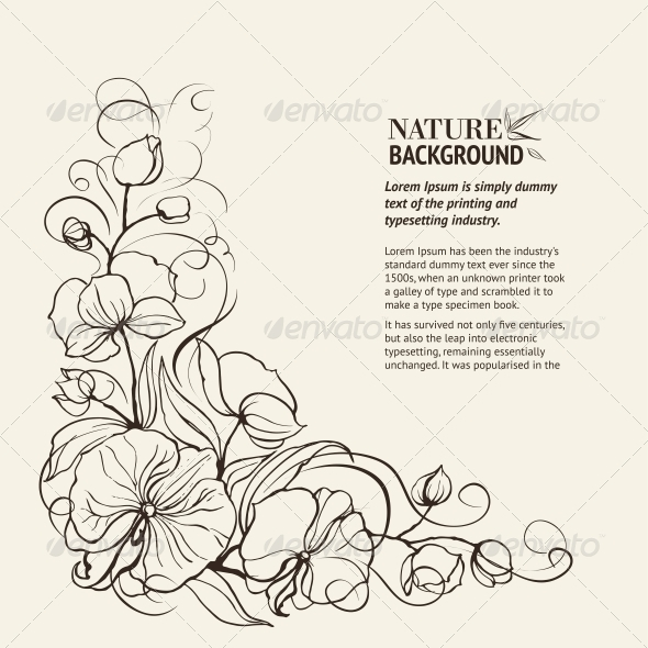 Sepia Grunge Background with Orchid Imprint. - Flowers & Plants Nature