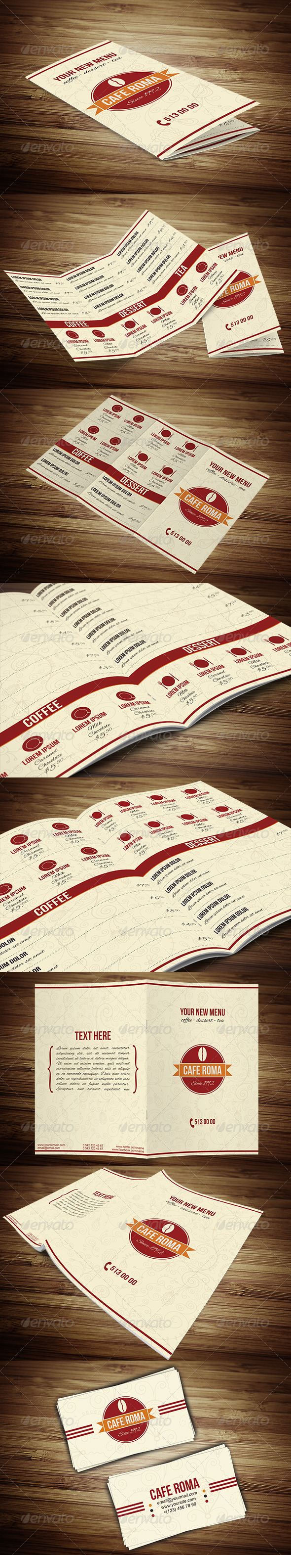 Cafe Tri-Fold & A4 Menu Template - Food Menus Print Templates
