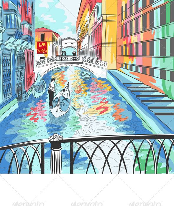 Vector Landscape the Bridge of Sighs in Venice - Travel Conceptual