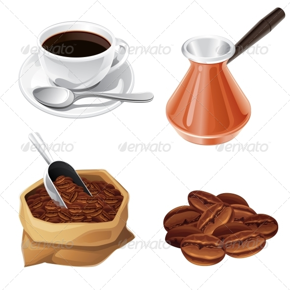 Coffee Beans, Turk, Cup, Bag of Coffee. - Food Objects