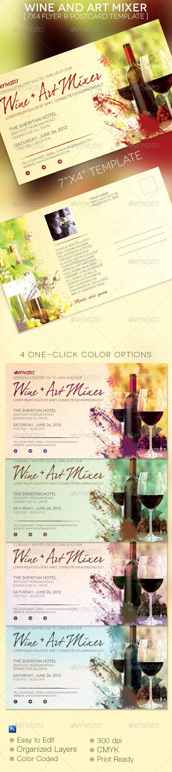 Wine Art Mixer Flyer Postcard Template - Restaurant Flyers
