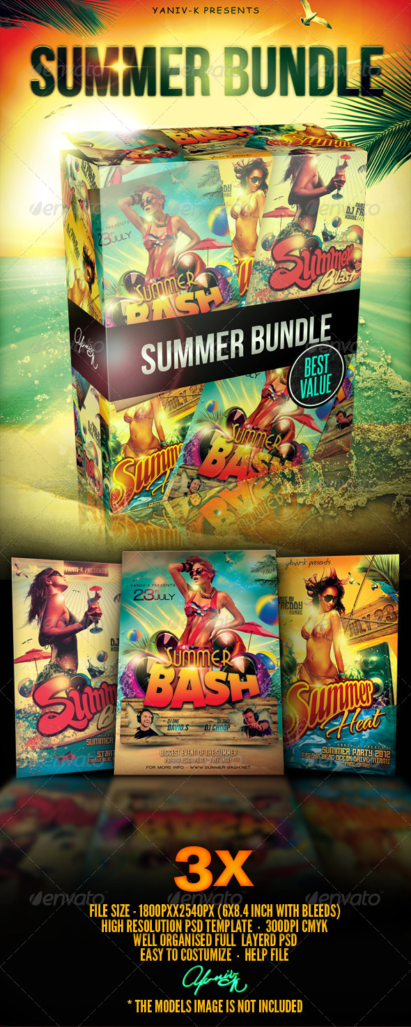 Summer Party Flyer Bundle - Flyers Print Templates