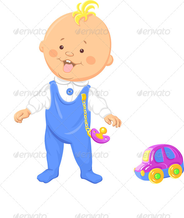 Vector Baby Boy Learns to Walk - People Characters
