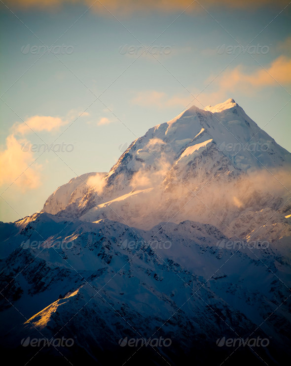 Mount Cook, New Zeland - Stock Photo - Images