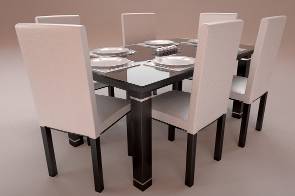 Realistic Dinning Furniture Set - 3DOcean Item for Sale