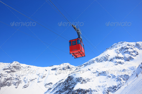 red cableway - Stock Photo - Images