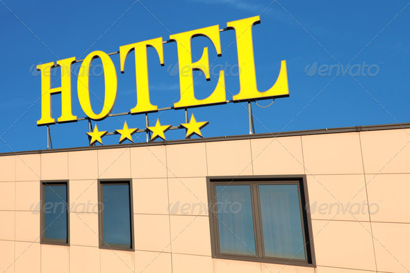 hotel sign - Stock Photo - Images