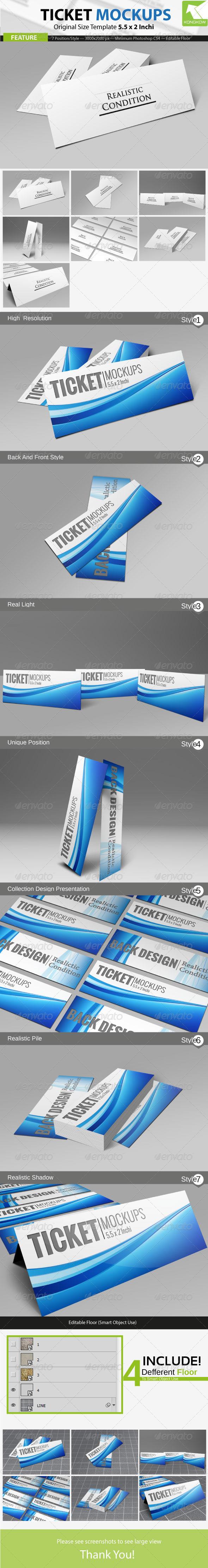 Ticket Mockups  - Print Product Mock-Ups
