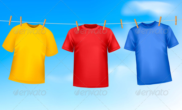 Three T-Shirts Hanging on a Clothesline - Commercial / Shopping Conceptual