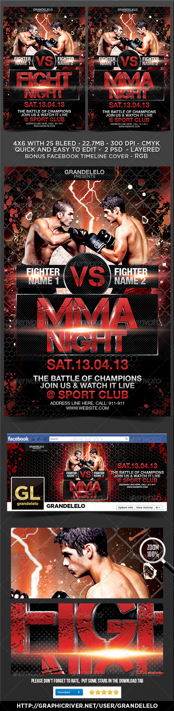 Fight or MMA Night Flyer Template  - Sports Events