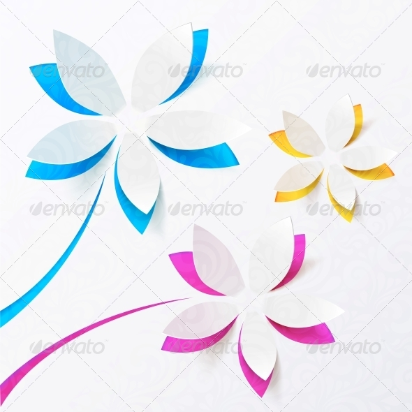 Paper Flowers Vector Greeting Card Template - Valentines Seasons/Holidays