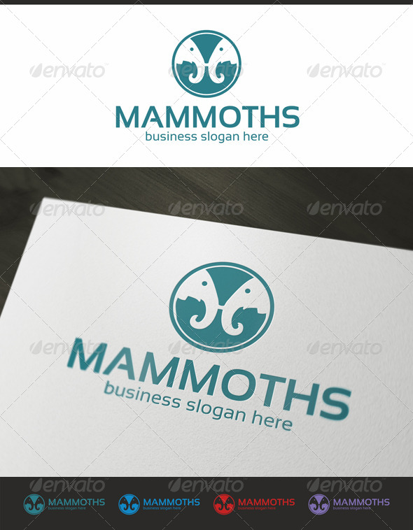 Two Mammoths - Animals Logo Templates