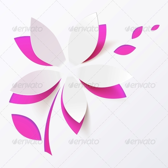 Pink Paper Flower Vector Greeting Card Template - Valentines Seasons/Holidays