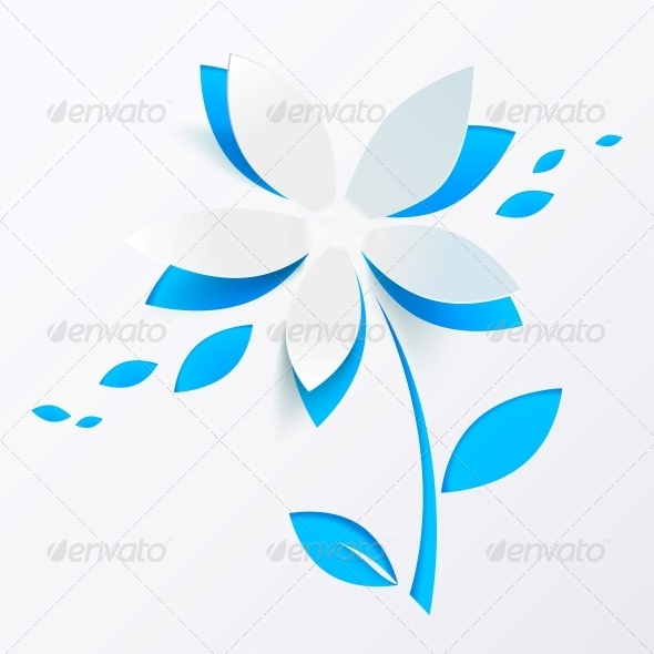 Blue Paper Flower Vector Greeting Card Template - Valentines Seasons/Holidays
