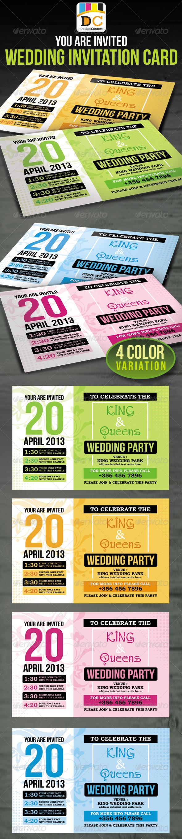 Wedding Party Invitation Card - Weddings Cards & Invites