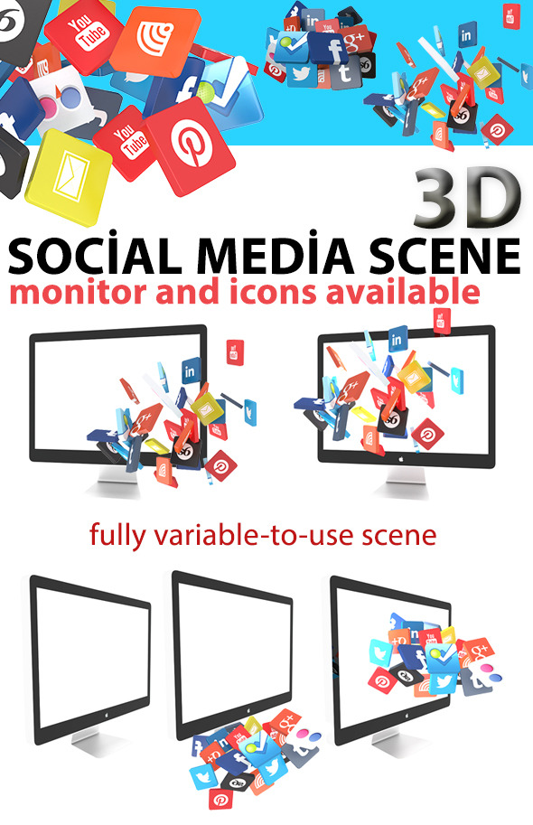 Monitor Scene with 3d Social Icons - 3DOcean Item for Sale