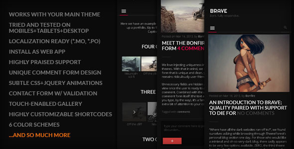 BRAVE – A dark, clean, fully responsive WP theme
