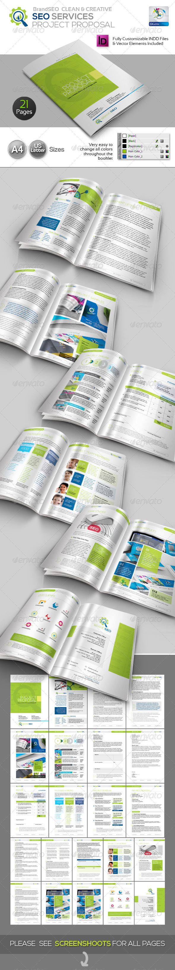 BrandSEO Clean SEO Service Project Proposal - Proposals & Invoices Stationery