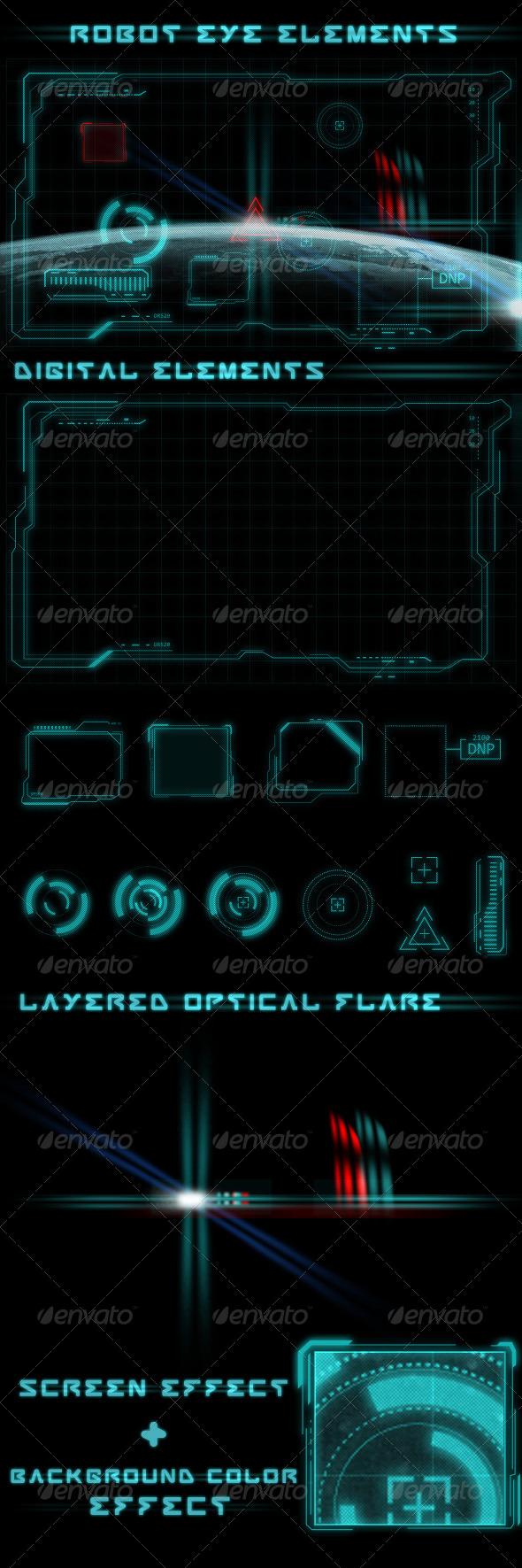Robot Eye Elements - Decorative Symbols Decorative