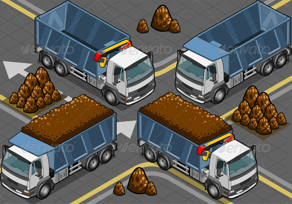 Isometric Containers Trucks in Front View - Objects Vectors