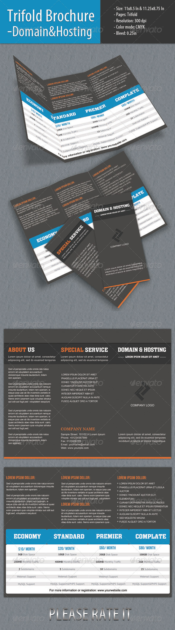 Trifold Brochure - Domain & Hosting - Brochures Print Templates