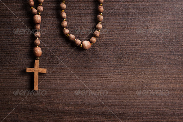 Cross Over Brown Wooden Background - Stock Photo - Images