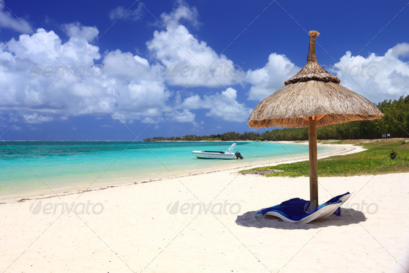 beach landscape in tropical island - Stock Photo - Images