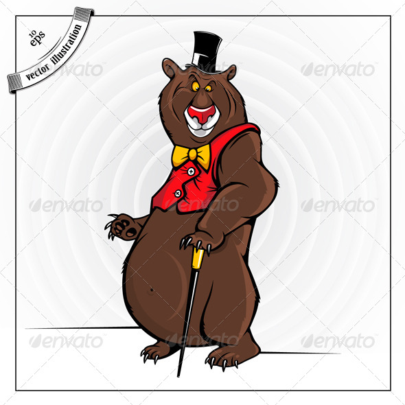 Cheerful Cartoon Bear With The Hat - Animals Characters