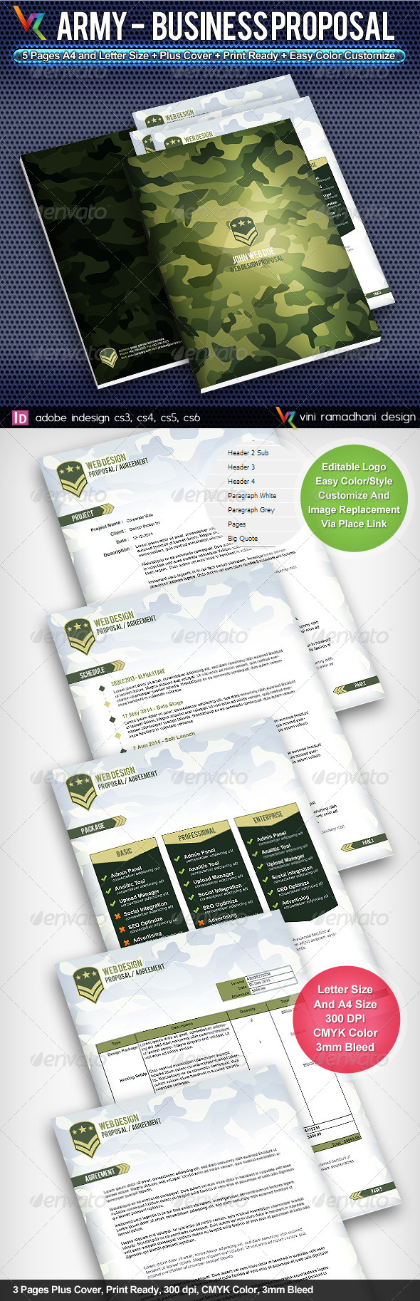 Army Business Proposal - Proposals & Invoices Stationery