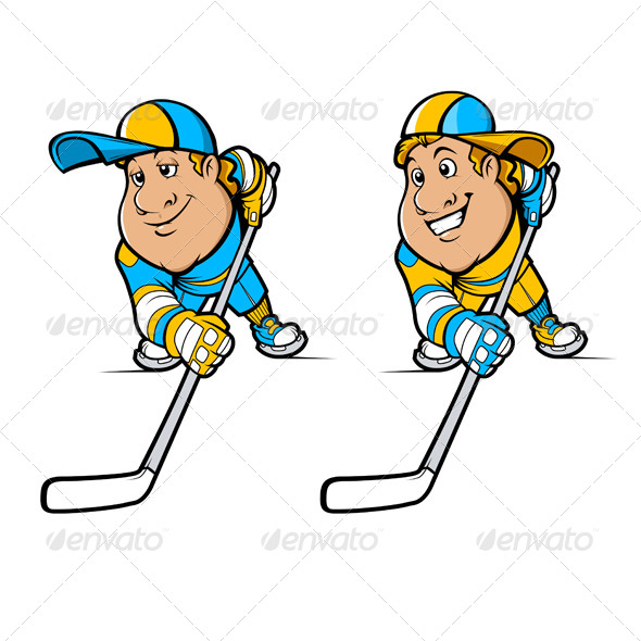 Cartoon Hockey Players Set - Sports/Activity Conceptual
