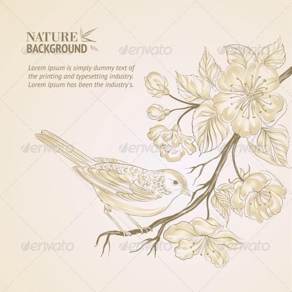 Hand Drawn Bird on Sacura Branch. - Flowers & Plants Nature