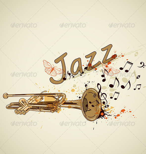 Background with Trumpet and Notes - Miscellaneous Vectors