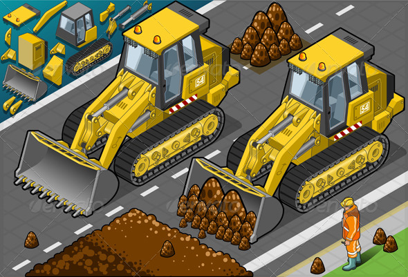Isometric Yellow Bulldozer in Front View - Objects Vectors