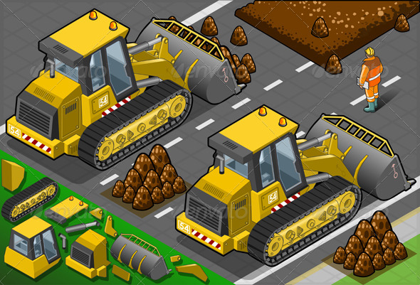 Isometric Yellow Bulldozer in Rear View - Objects Vectors