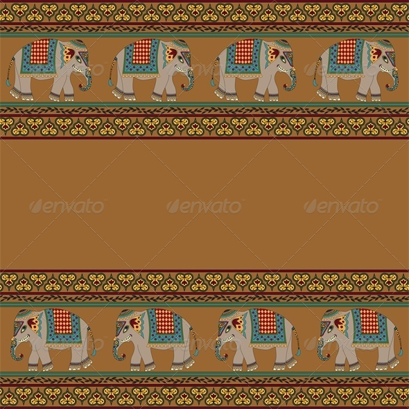 Indian Pattern with Elephant - Animals Characters